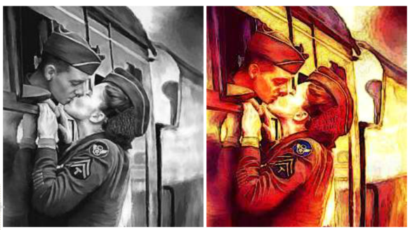 military-couple-kissing